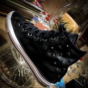 RARE Black Leather CONVERSE Spiked High Tops